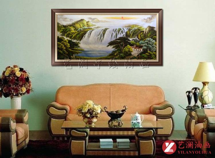 艺澜横式构图聚宝盆山水景纯手绘油画 高档客厅沙发墙图片