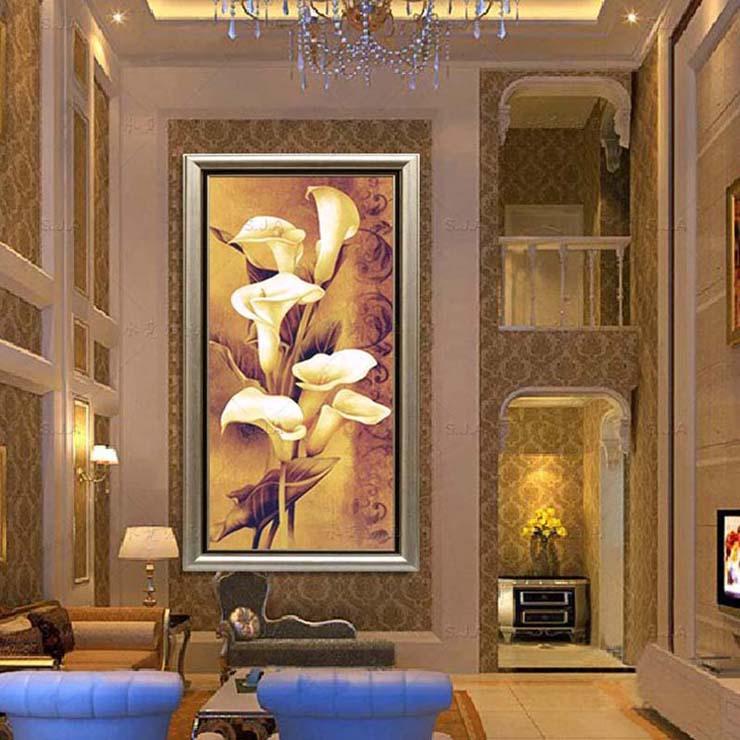 水竞玄关画过道走廊装饰画现代中式竖款挂画花卉壁画手绘油画马蹄莲图片