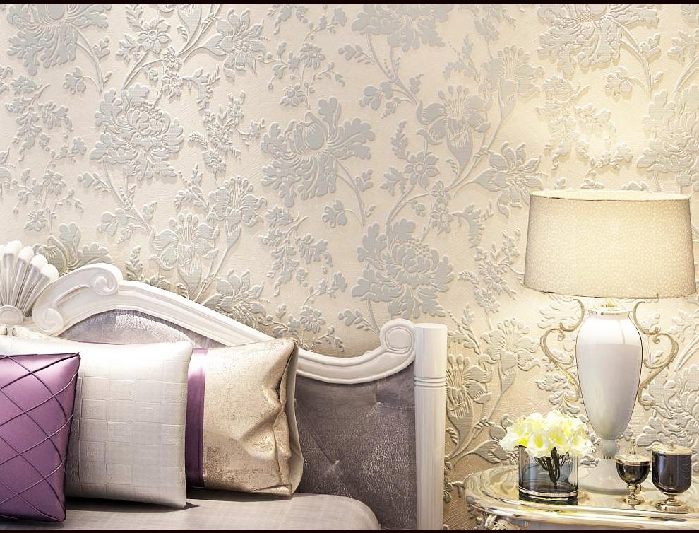 无纺布墙纸卧室 温馨壁纸欧式田园墙纸 立体浮雕3d电视背景墙壁纸图片