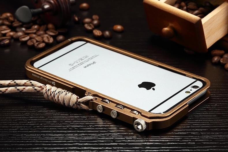 美纶纽 金属边框保护套带挂绳手机套 适用于苹果iphone6 plus 5.