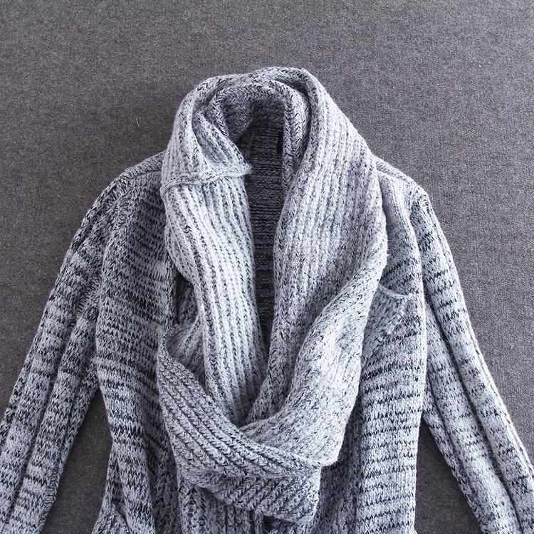蓝雨蝶依*2014秋冬欧美女装 街拍款针织羊毛混纺毛衣 领子有多重穿法
