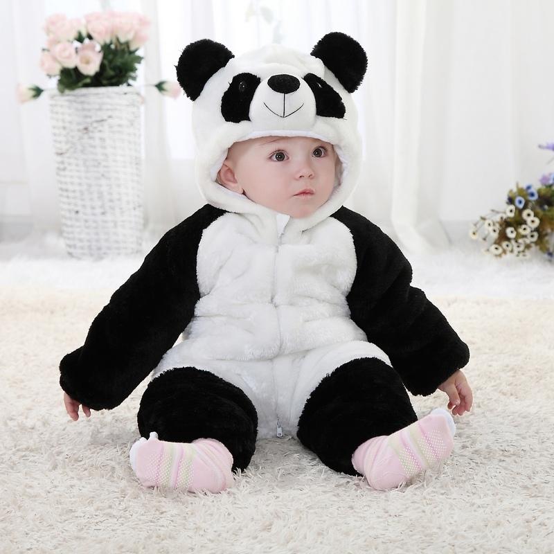 婴儿棉衣外套宝宝冬季卡通动物造型哈衣服新生儿熊猫连体加厚爬服 黑