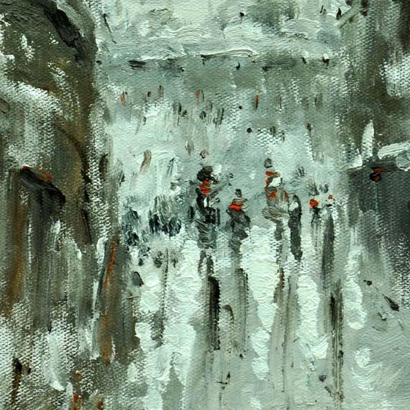现代都市街景风景手绘油画 简欧装饰画 有框画 客厅 欧式黑白街景酒店