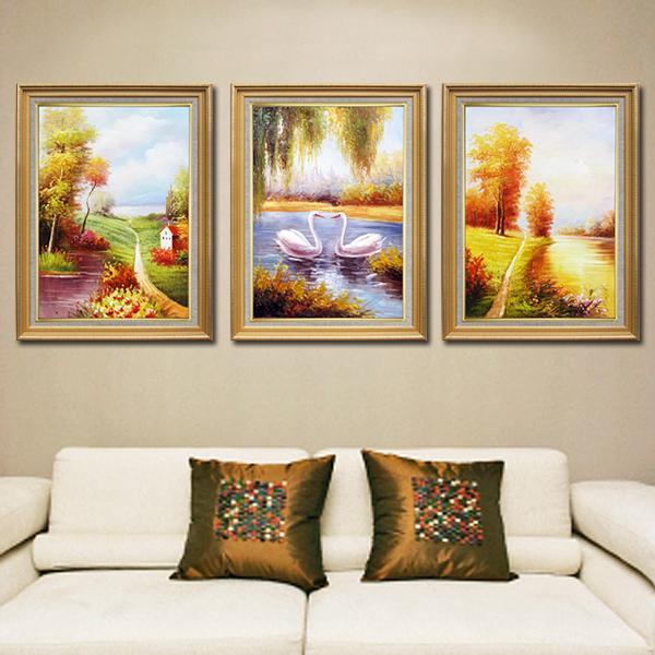 麦画欧式纯手绘油画三联画风景油画客厅装饰画卧室玄关走道壁画挂画有图片