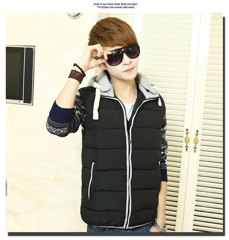 青少年棉马甲男韩版时尚 中学生棉衣冬季外套 保暖修身背心男生潮 841图片