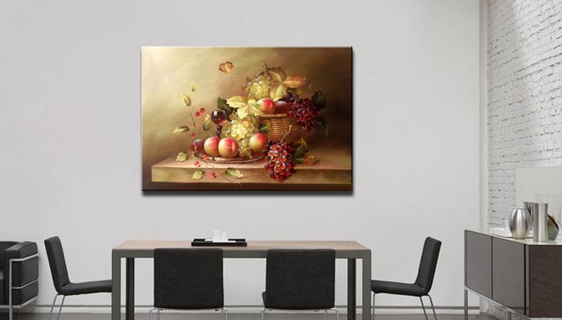 现代餐厅手绘油画 复古欧式写实静物画 餐馆酒店装饰画 挂画 单幅50*