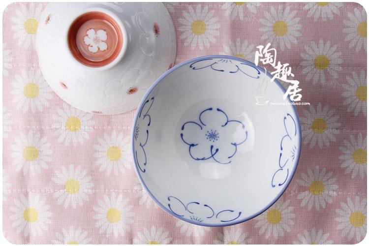 日本进口陶瓷手绘梅花米饭碗沙拉甜点碗可爱情侣餐具便携大碗 a款蓝花