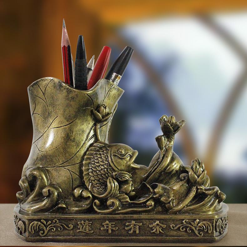 欣润中式家居饰品多功能动物笔筒摆件办公室桌面实用名片座吧台装饰品