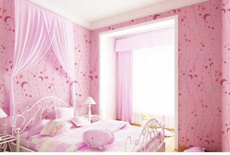 绿泇无缝墙布 儿童房壁布 卧室背景墙布 温馨卡通 星星月亮 定高2.