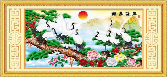 绣美人精准印图半印半绣5d版立体十字绣鹤寿延年青松常在9364