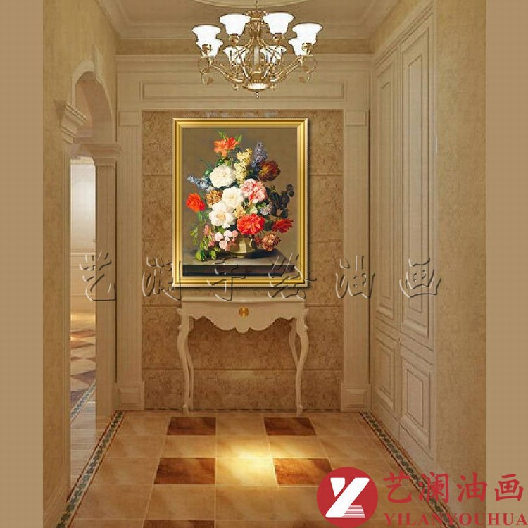 艺澜欧式纯手工古典花卉油画 客厅餐厅玄关有框画竖式图片