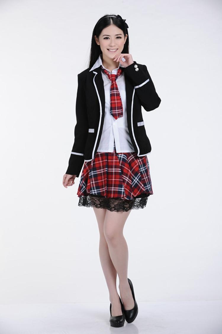 蝶然 韩版女生校服套装时尚英伦学院派学生服校服4 蕾丝格子裙 短袖款