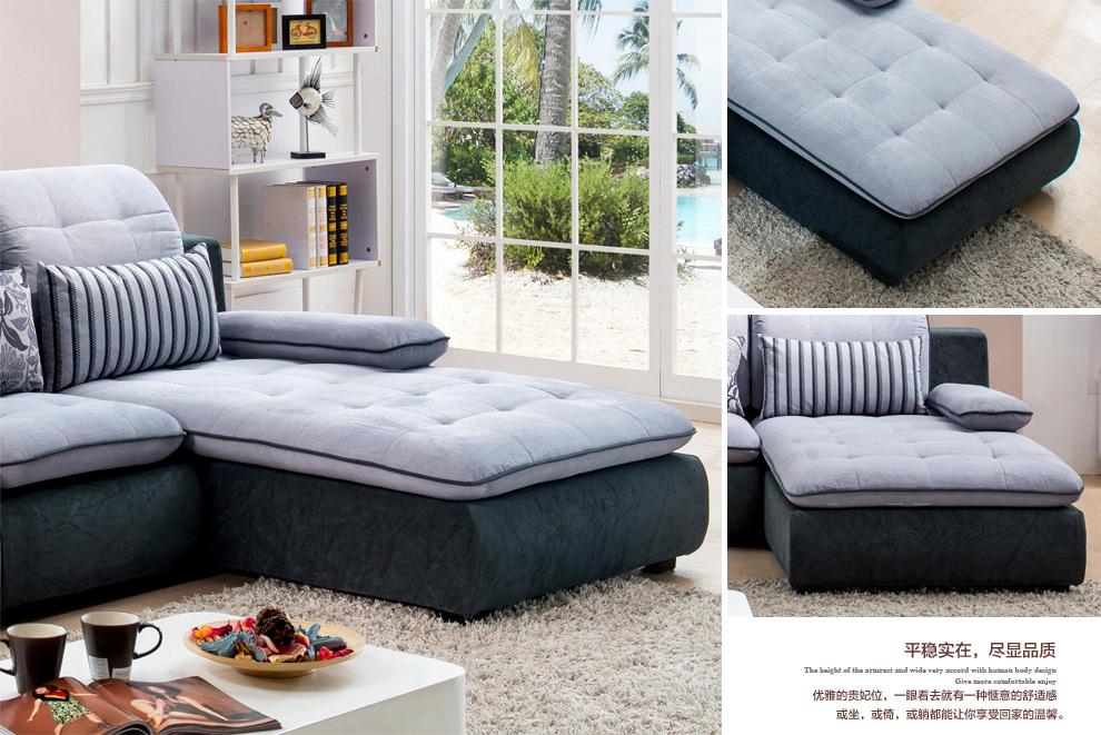 维诺斯帝 布艺沙发 布沙发 客厅沙发b32 蓝灰 浅灰绒布-右贵妃 2 1