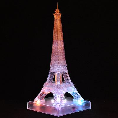 3d水晶塑料拼图立体拼图带灯音乐埃菲尔铁塔拼装模型
