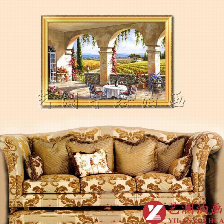 艺澜精品地中海风格纯手绘油画 欧洲乡村 酒店别墅家居客厅壁挂画dh56