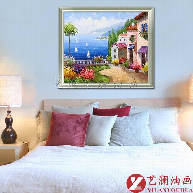 艺澜艺澜蓝天大海边建筑 纯手绘立体油画 风景地中海装饰墙壁挂画dh10