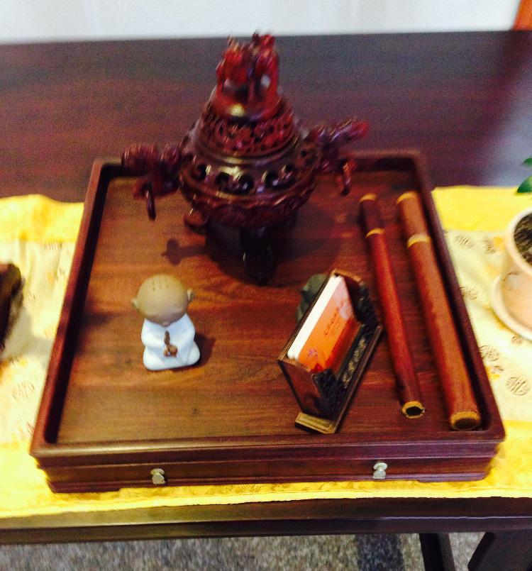琼玛莎 红木功茶盘 老挝大红酸枝木雕 都承盘 文盘 茶水托盘工艺品