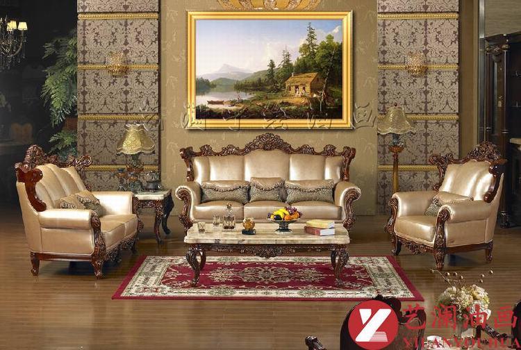 艺澜风景油画欧式古典成品带框装饰画 家居装饰客厅餐厅卧室画fj3 纯图片