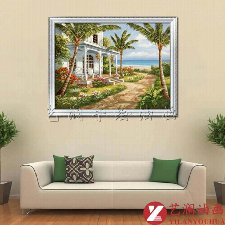 艺澜欧式地中海风景手绘油画 海边椰树房屋 客厅餐厅卧室挂画壁画dh51