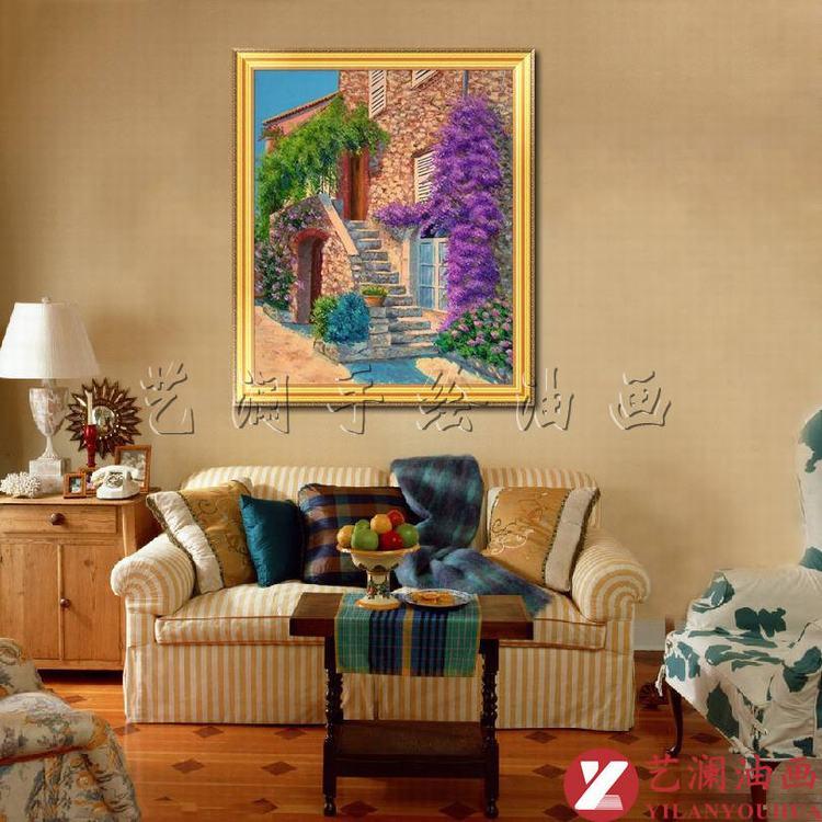 艺澜欧式客厅卧室家居装饰画 竖式构图 田园休闲风格纯手绘油画dh71图片