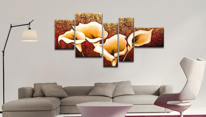 麦画现代纯手绘客厅背景墙油画卧室壁画餐厅欧式 不规则五联画5拼装饰
