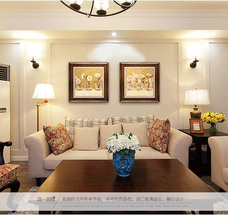 装饰字画 简一画廊(jane gallery) 客厅装饰画 欧式沙发背景墙画两联图片