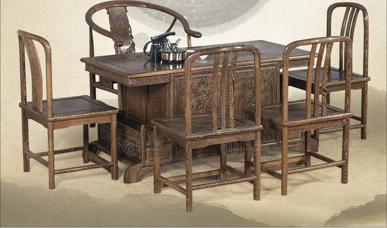 荣御 新中式家具红木茶几功夫茶桌实木仿古 鸡翅木茶桌椅组合 中罗马