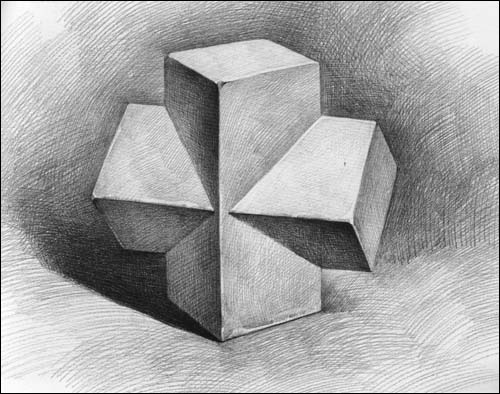 正方体,六棱柱体,圆锥&圆柱穿插体的组合画法 ④.