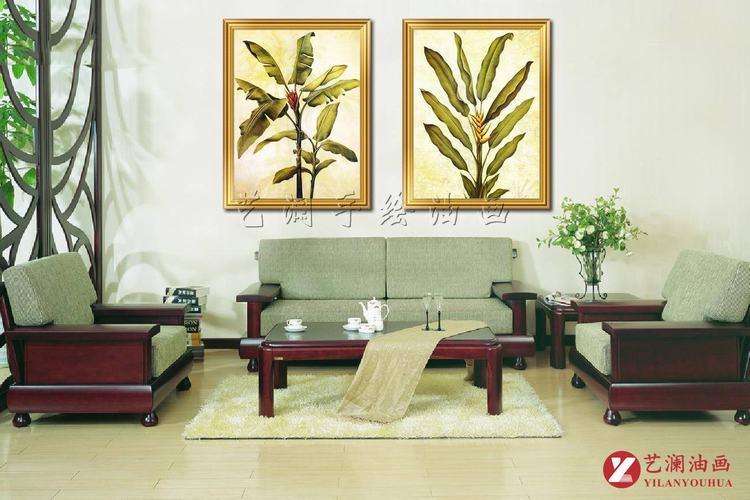 艺澜东南亚芭蕉叶装饰手绘油画 客厅卧室拼套组合壁挂