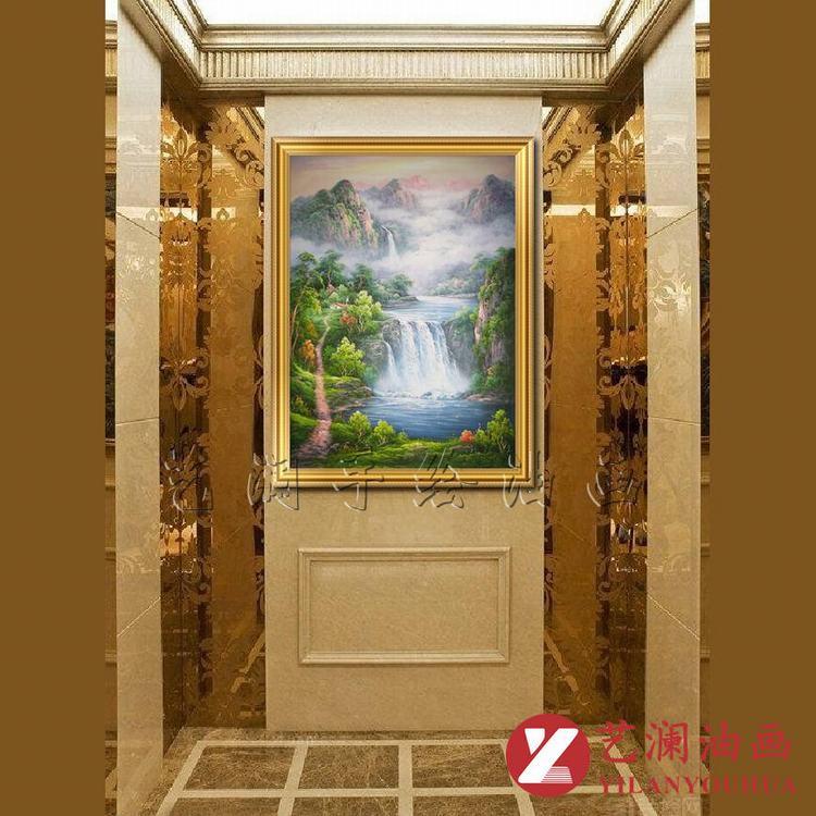 艺澜山里人家高山流水风景瀑布小路油画长方形竖式风景客厅悬挂画sh97图片