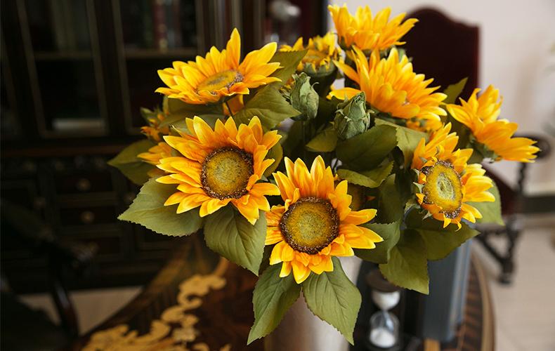 知根 仿真花向日葵花束 假花绢花欧式油画色装饰花 客厅摆放花卉 桔色