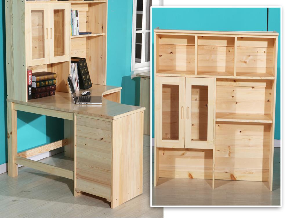 转角电脑桌带书架_景福园纯松木家具转角台式电脑桌带书架全实木书桌儿童写字桌组合