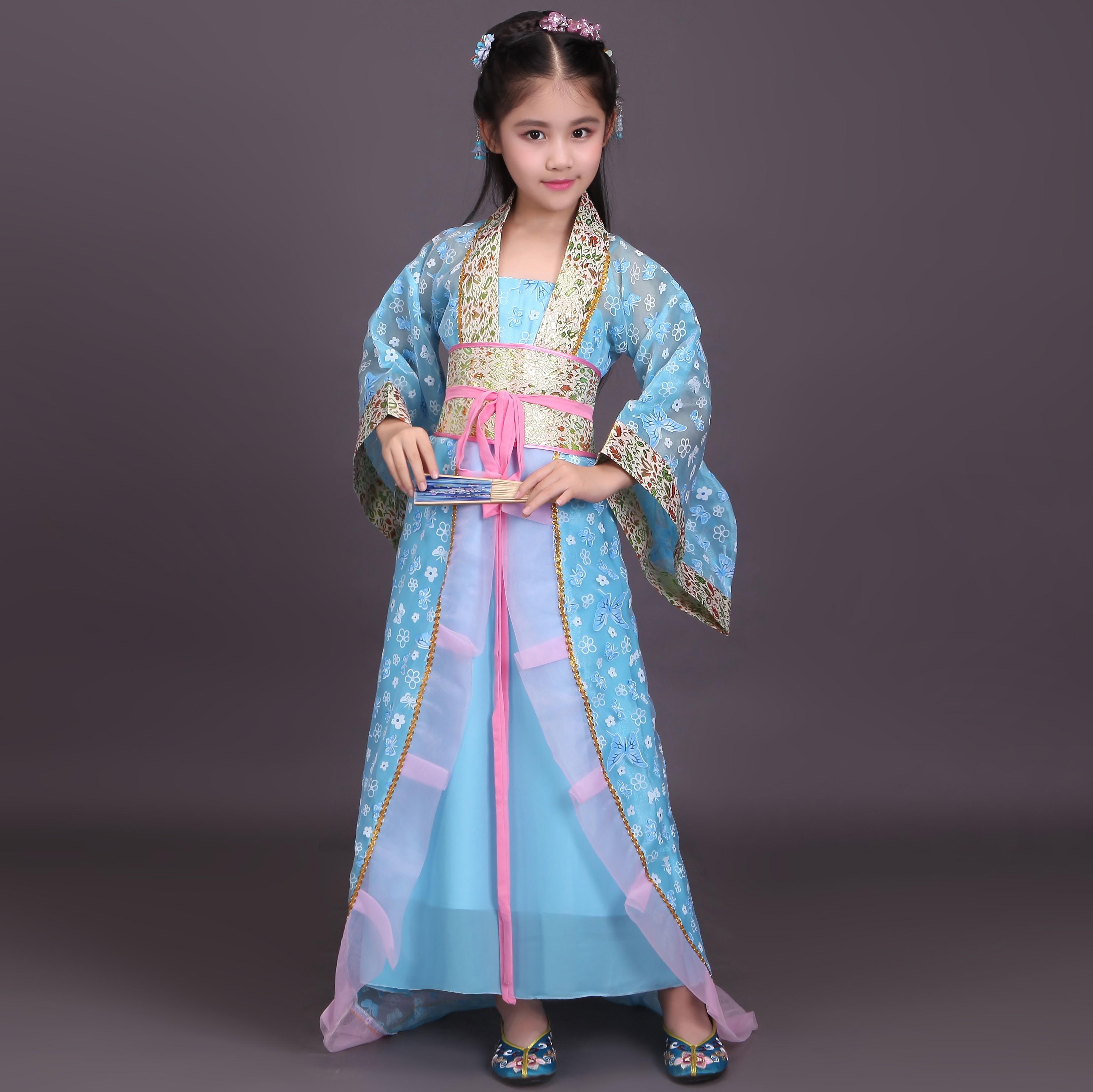 儿童古装古风秋季唐装襦裙汉服cos公主仙女贵妃 古筝表演出服 粉红色