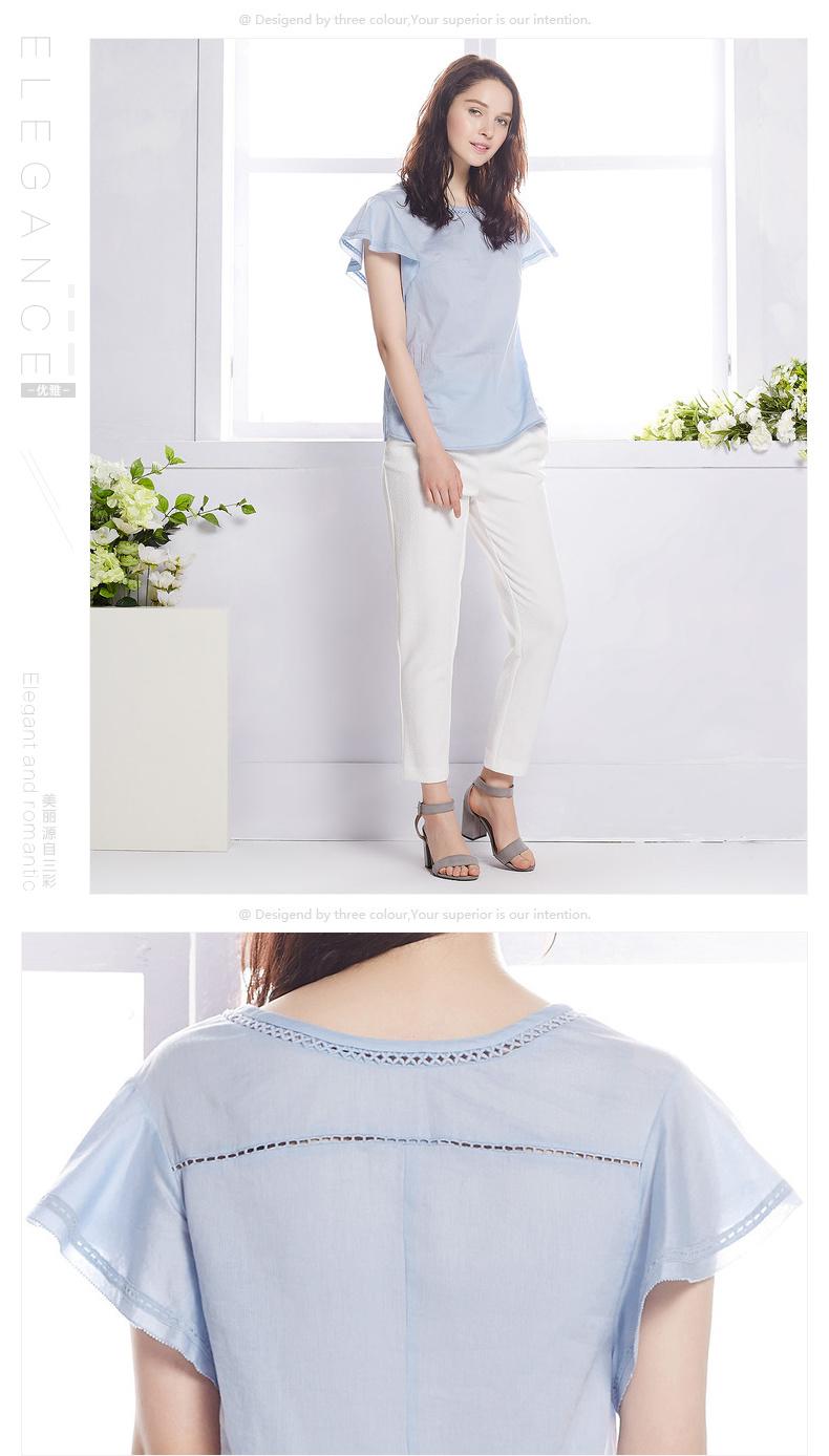 三彩丽雪2016夏装新款 纯色上衣荷叶袖纯棉衬衫t恤女