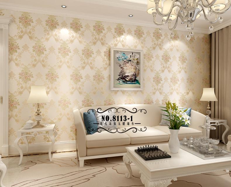 幕点无缝墙布 欧式美式田园大马士革壁布 卧室客厅 立体金线多层3d图片