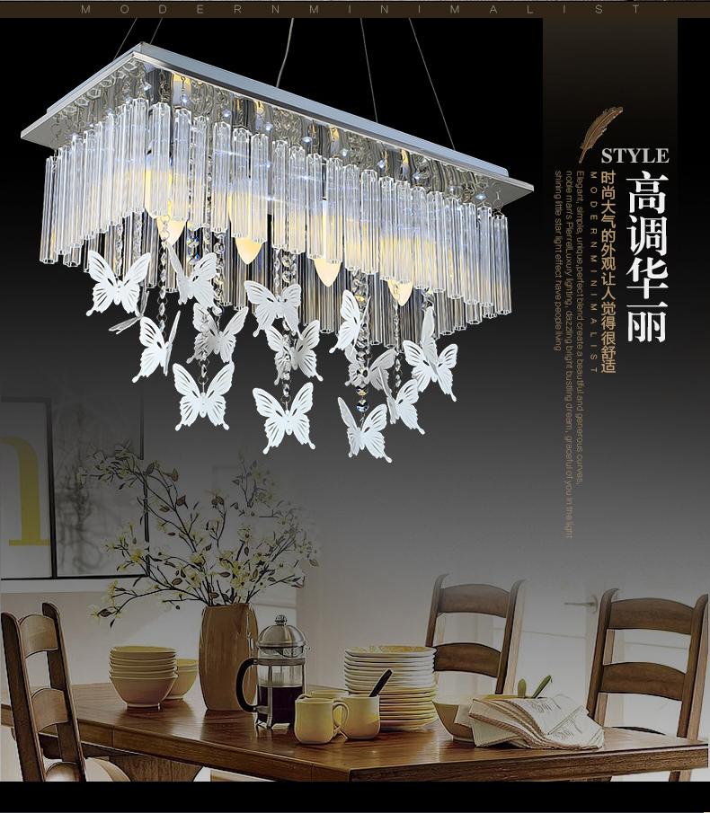 闪派欧式餐吊灯led水晶灯创意餐厅灯长方形吸顶灯