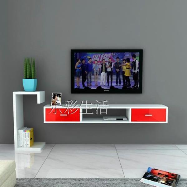 璞碟影视墙造型机顶盒墙上电视柜架置物架墙上搁板隔板带抽屉 红白配