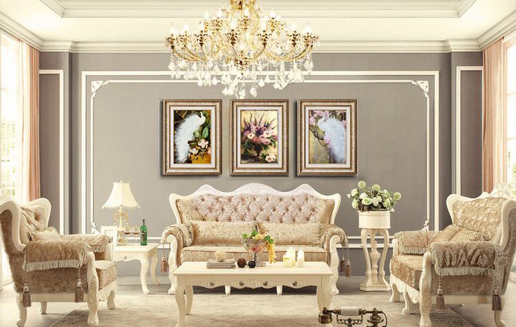 客厅装饰画现代欧式挂画壁画玄关画三联画有框画 孔雀