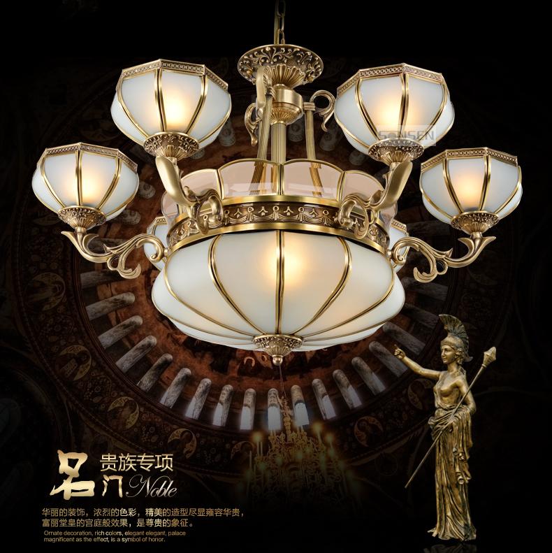 圣森欧式全铜吊灯复古客厅灯具艺术吊灯铜灯别墅大厅