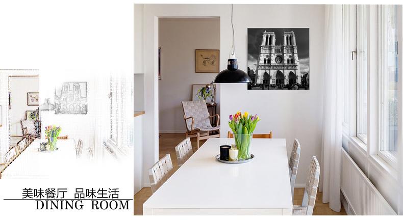 咪卜黑白装饰画客厅现代简约玄关餐厅欧美式建筑有框挂画 巴黎铁塔-金
