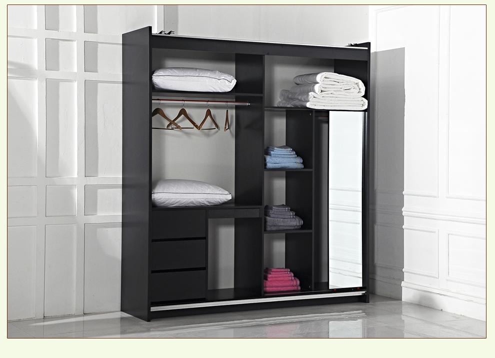 慕谷现代黑白格两门吊轨移门衣柜 推拉柜 整体组合柜