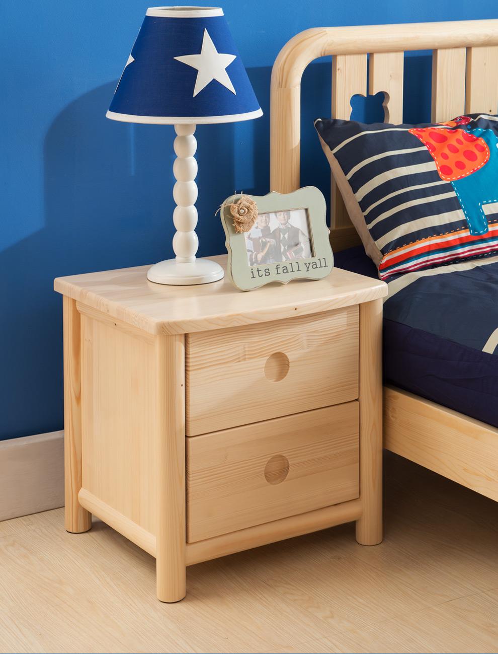 京巢儿童家具 床头柜 松木现代实木床边柜床头抽屉柜