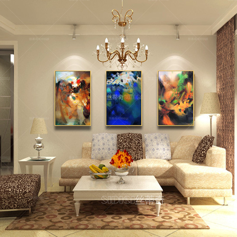 代时尚油画欧式客厅手绘抽象画家居挂 (800x800)-水竞玄关油画抽
