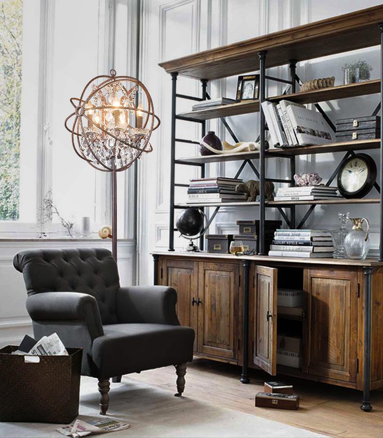 西图loft 美式复古工业风水晶落地灯创意客厅书房装饰图片