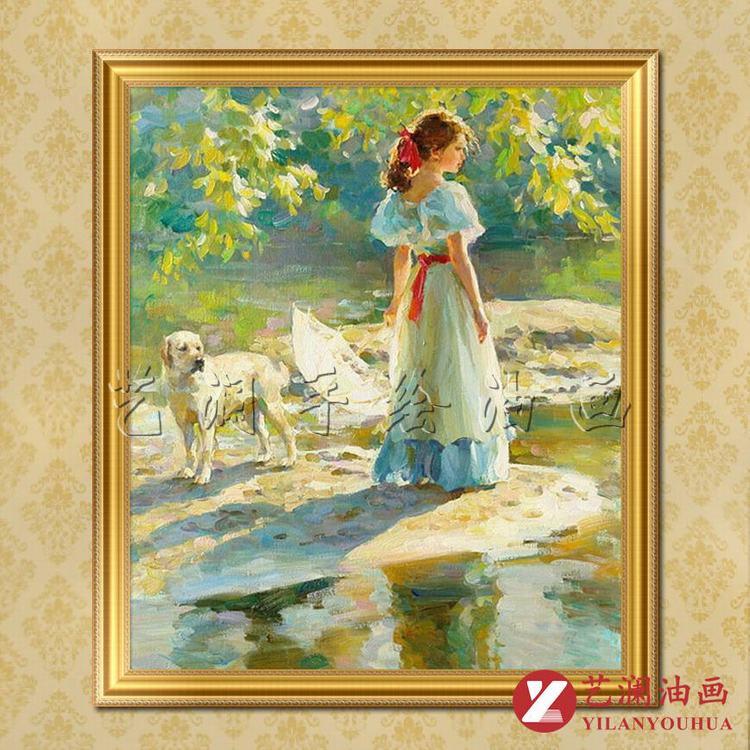 艺澜小女孩和狗纯手绘油画临摹定制