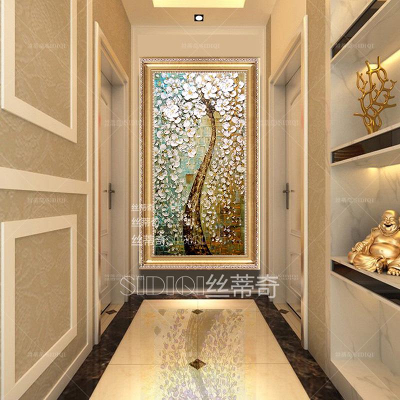 丝蒂奇欧式玄关手绘油画发财树挂画现代家居抽象花卉壁画走廊时尚装饰
