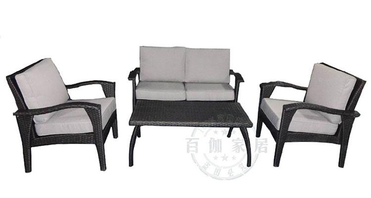 百伽 美式户外藤家具 休闲藤编沙发茶几4件套 客厅组合 带靠垫 灰色