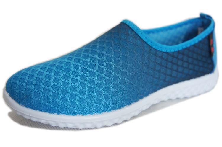 双星青岛春夏休闲女鞋超轻软底一脚蹬轻便透气低帮网鞋b5200 蓝色 40