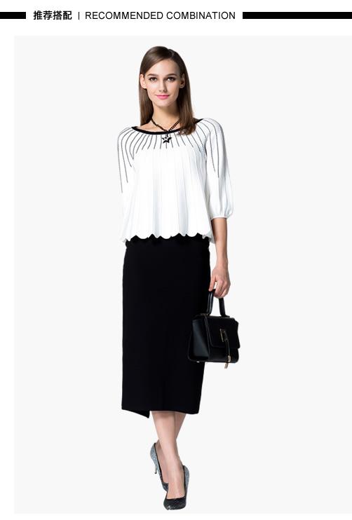 拉夏贝尔 2015春装新款女装中袖针织衫 白色 l