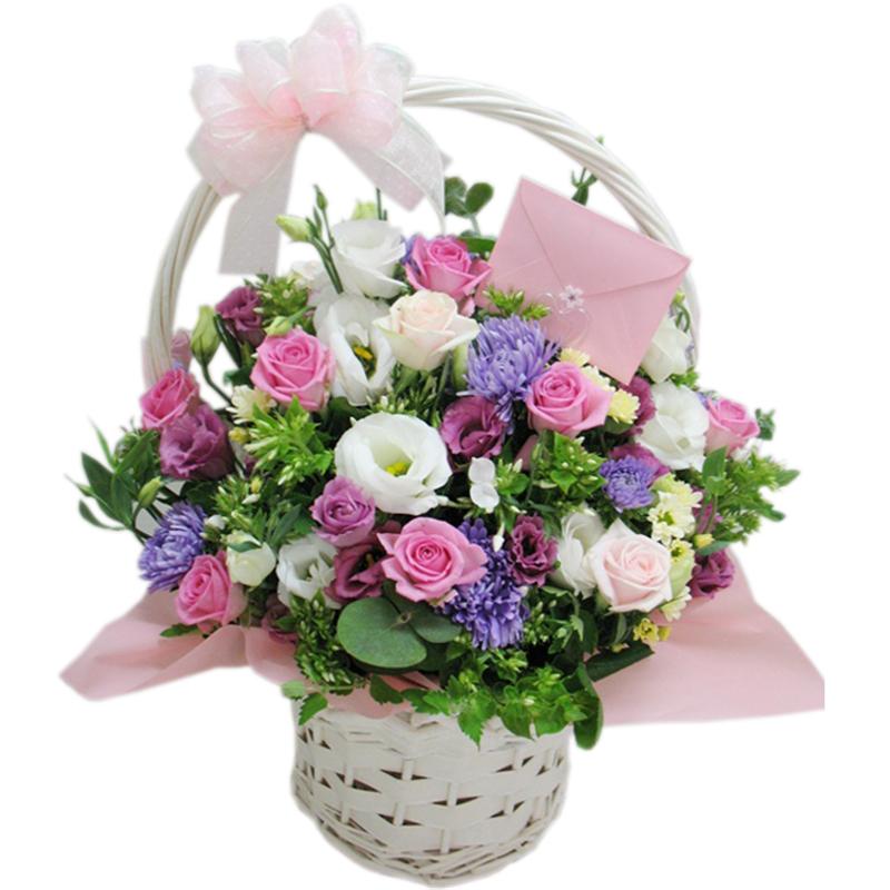 玫瑰花手提花篮 手提花篮 生日祝福探望鲜花 鲜花速递